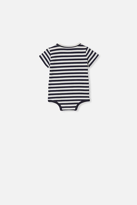 The Short Sleeve Bubbysuit, HANNAH STRIPE NAVY BLAZER/VANILLA