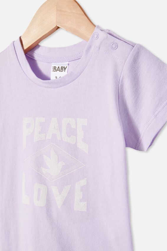 Jamie Short Sleeve Tee, VINTAGE LILAC/PEACE LOVE