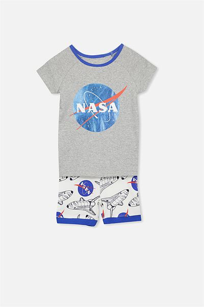 Frankie Short Sleeve Raglan Pyjama Set, LCN NASA SPACESHIP
