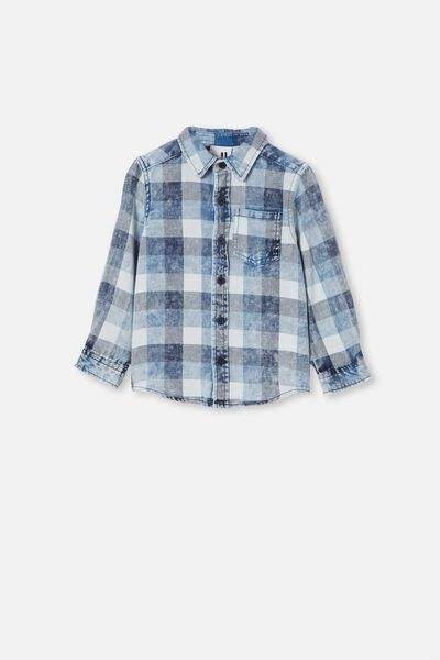 Rugged Long Sleeve Shirt, BLUE DENIM CHECK