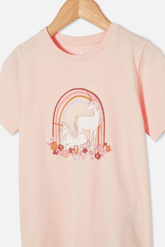 Penelope Short Sleeve Tee, CRYSTAL PINK/UNICORN GARDEN RAINBOW
