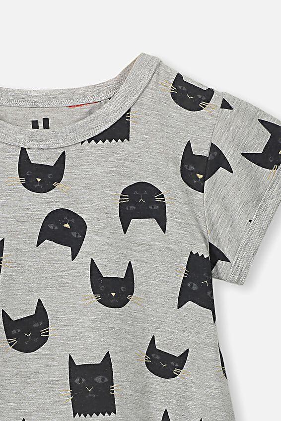 Jessica Tee Nightie, BLACK CATS/GREY MARLE