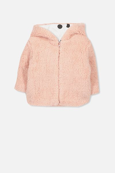 Teddy Hooded Jacket, SILVER PINK