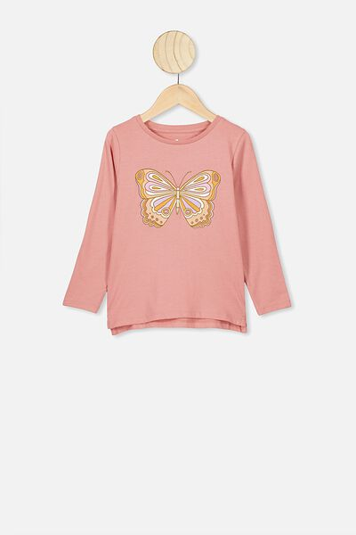 Penelope Long Sleeve Tee, MUSK ROSE/BUTTERFLY