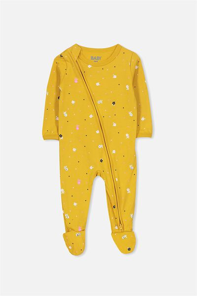 Sleep Mini Zip All In One Jumpsuit, MINERAL YELLOW/FLORAL