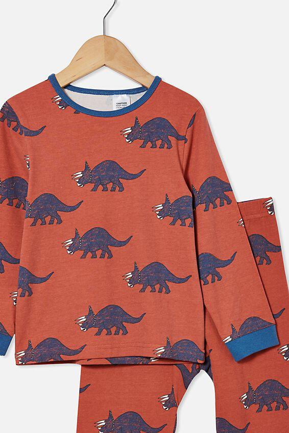 Orlando Long Sleeve Pyjama Set, TEXTURED DINOSAUR/CHUTNEY