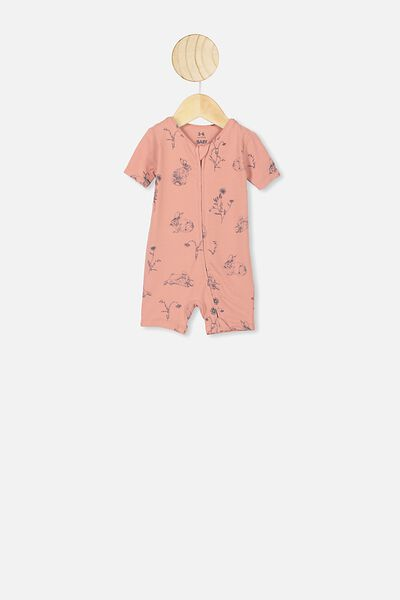 The Snug Short Sleeve Romper, CLAY PIGEON/FLORAL BUNNY
