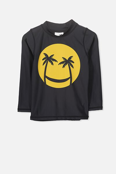 Fraser Long Sleeve Rash Vest, VINTAGE BLACK/SMILEY FACE