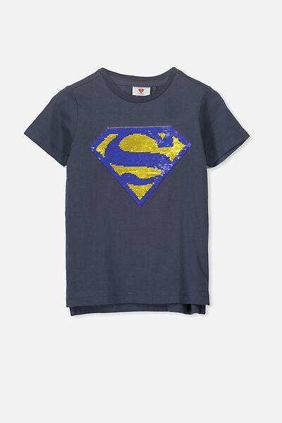 Short Sleeve License1 Tee, NAVY/REVERSIBLE SUPERMAN