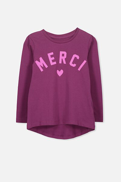 Penelope Long Sleeve Curved Hem, MERRY BERRY/MERCI