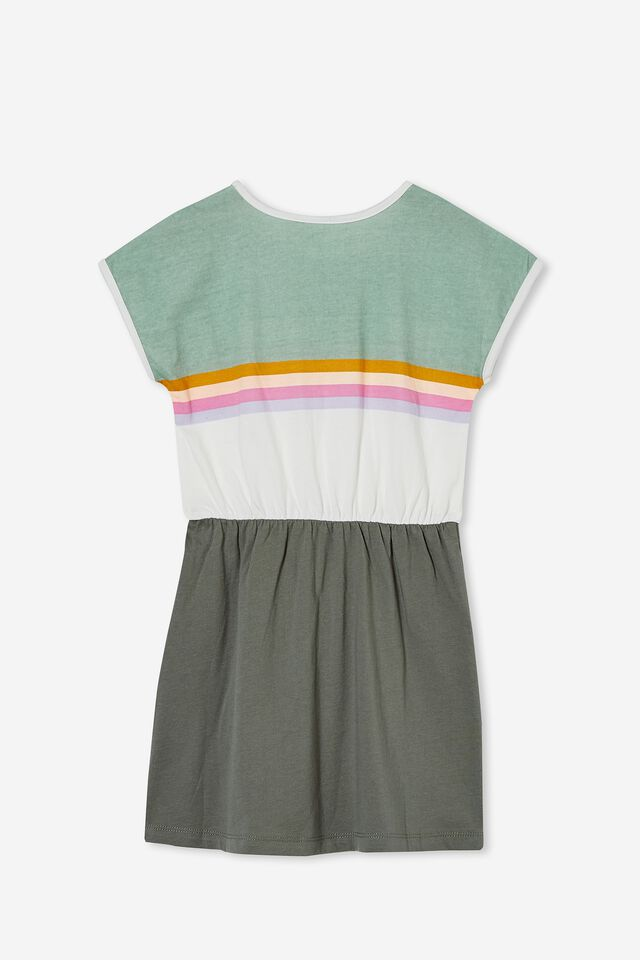 Sigrid Short Sleeve Dress, SWAG GREEN/COLOUR BLOCK