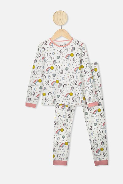 Florence Long Sleeve Pj Set, VANILLA/UNICORN RAINBOW