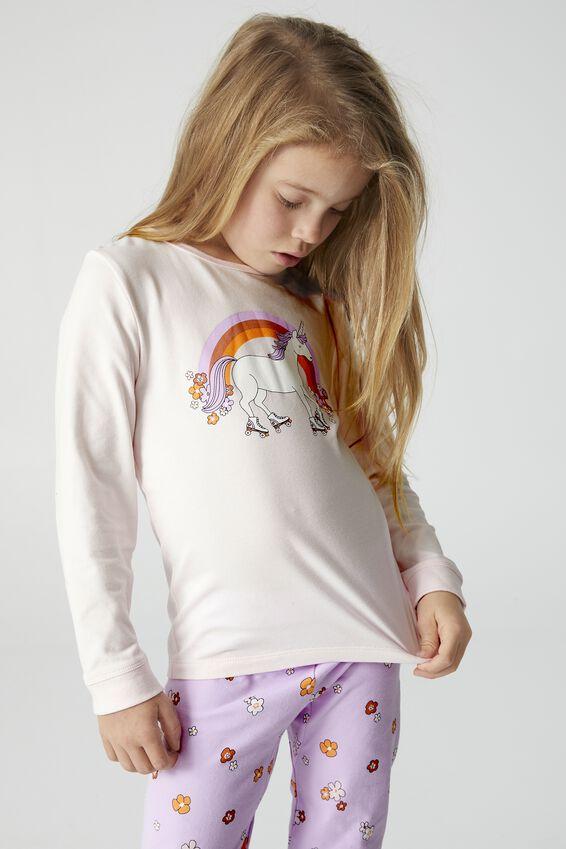 Florence Long Sleeve Pyjama Set, ROLLER UNICORN PALE VIOLET