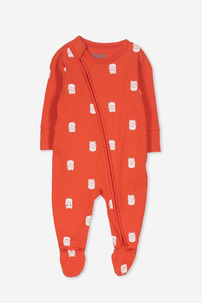 Mini Zip Through Romper, ENGINE RED/LUCKY CAT