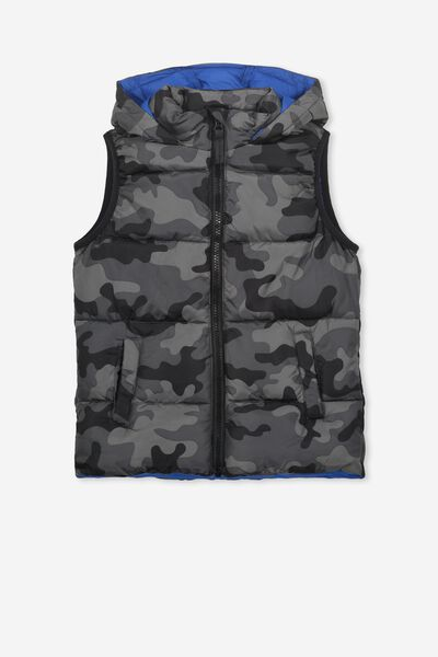 Billie Puffer Vest, BLACK CAMO