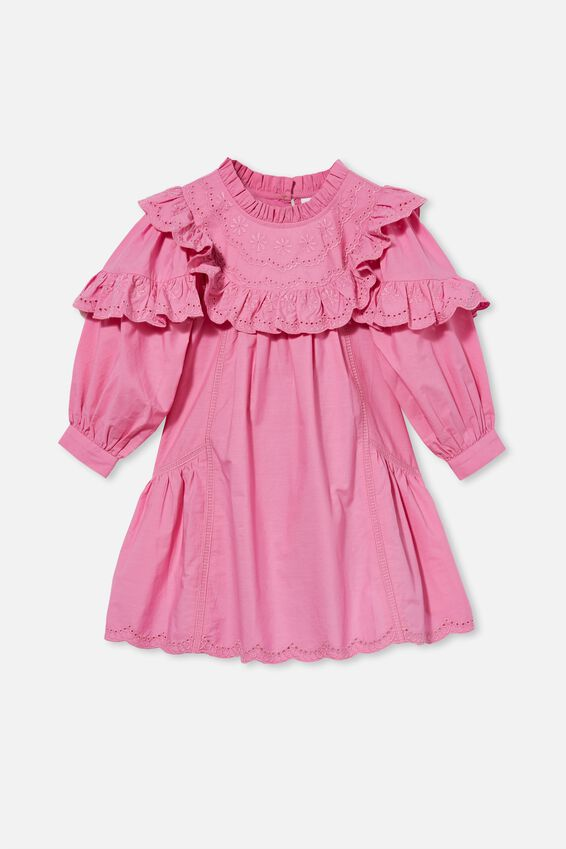 Deonne Long Sleeve Dress, PINK GERBERA