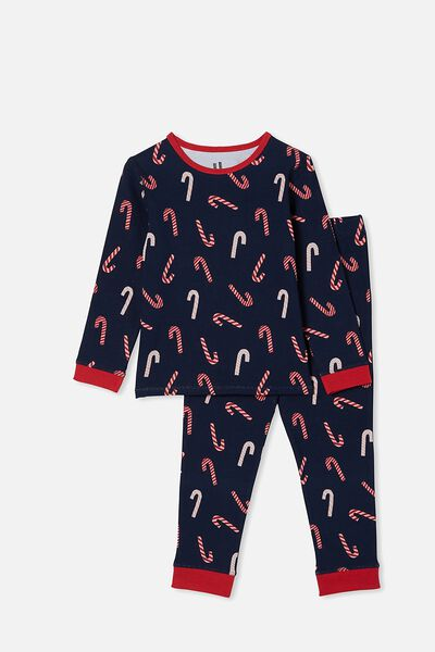 Orlando Long Sleeve Pyjama Set, CANDY CANES NAVY BLAZER