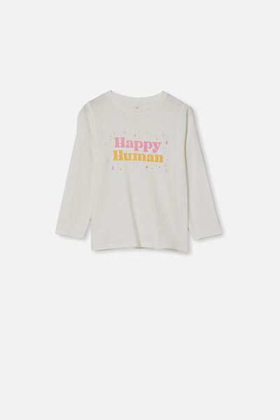 Penelope Long Sleeve Tee, WHITE/HAPPY HUMAN