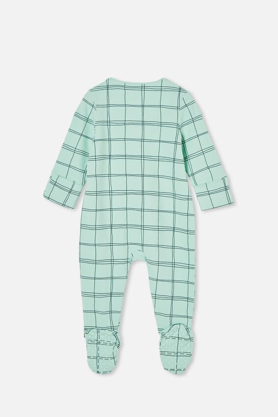 The Long Sleeve Zip Romper, DUCK EGG/SKETCHY GRID