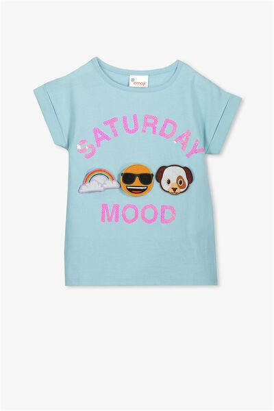 Lux Short Sleeve Tee, EMOJI SATURDAY MOOD CORDALIS BLUE/DROP SHOULDER