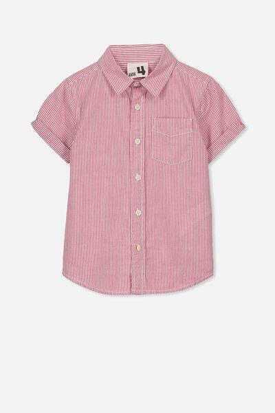Jackson Short Sleeve Shirt, RED STRIPE