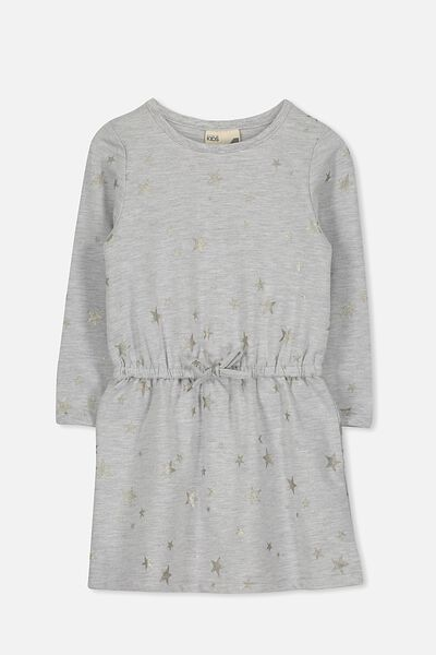 Scout Long Sleeve Dress, LT GREY MARLE/STARS