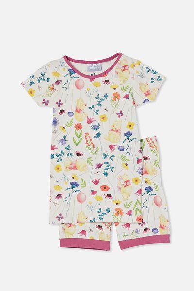 Nikki Short Sleeve Pyjama Set Licensed, LCN DIS WINNIE THE POOH FLORAL/VANILLA