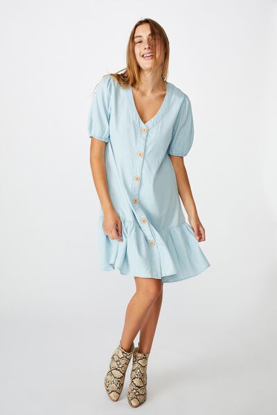 Mama Lulu Short Sleeve Dress, MID BLUE WASH