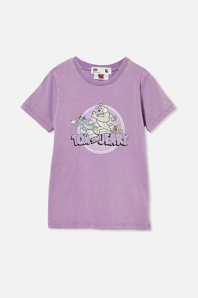 License Short Sleeve Tee, LCN WB TOM AND JERRY/GRAPE SODA WASH
