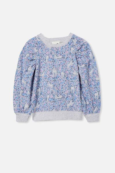 Priscilla Puff Sleeve Top, DUSK BLUE/UNICORN GARDEN