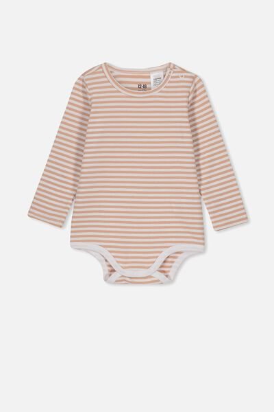 The Long Sleeve Bubbysuit, CHRIS STRIPE WHITE/CAMEO BROWN