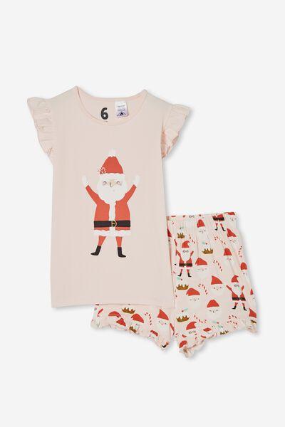 Stacey Short Sleeve Flutter Pyjama Set, SANTA FACES/CRYSTAL PINK