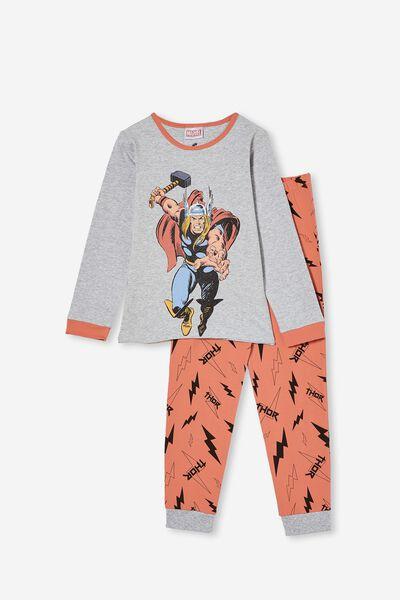 Orlando Long Sleeve Pyjama Set Licensed, LCN MAR MIGHTY THOR/SUMMER GREY MARLE
