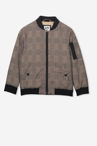Airforce Bomber, HOUNDSTOOTH BLACK/SEMOLINA