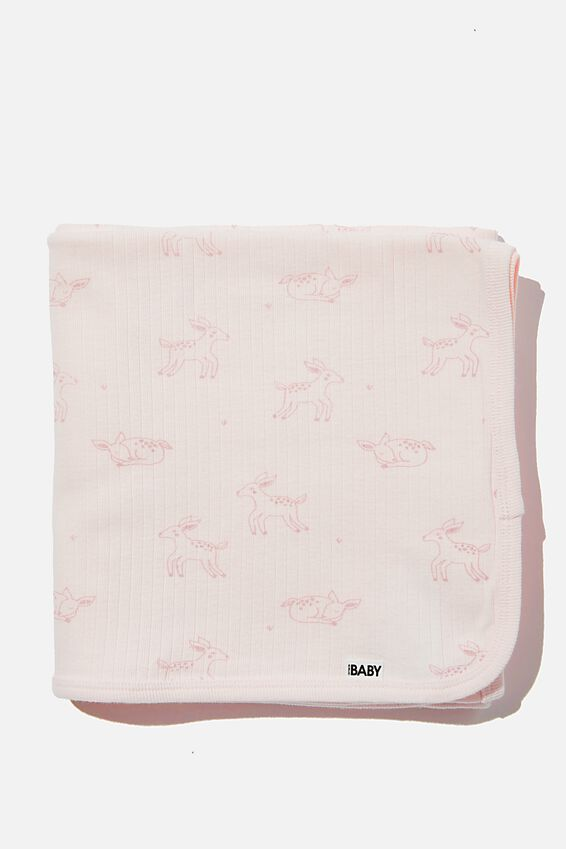 Organic Newborn Blanket, CRYSTAL PINK/DEER
