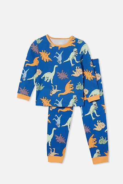 Orlando Long Sleeve Pyjama Set, MULTI DINO/RETRO BLUE