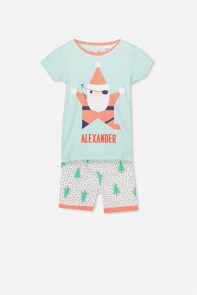 Joshua Short Sleeve Pyjama Set- Personalised, XMAS SANTA PIRATE