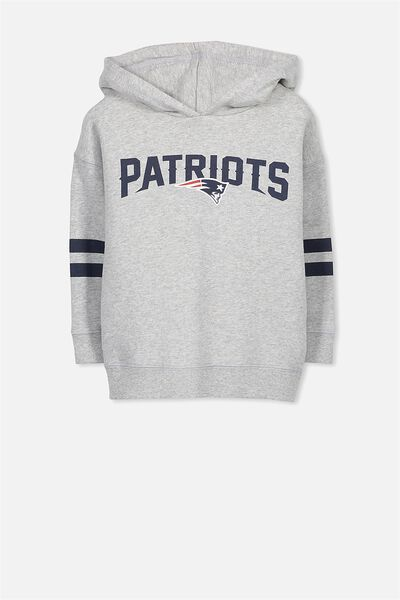 License Dropped Shoulder Hoodie, LT GREY MARLE/PATRIOTS