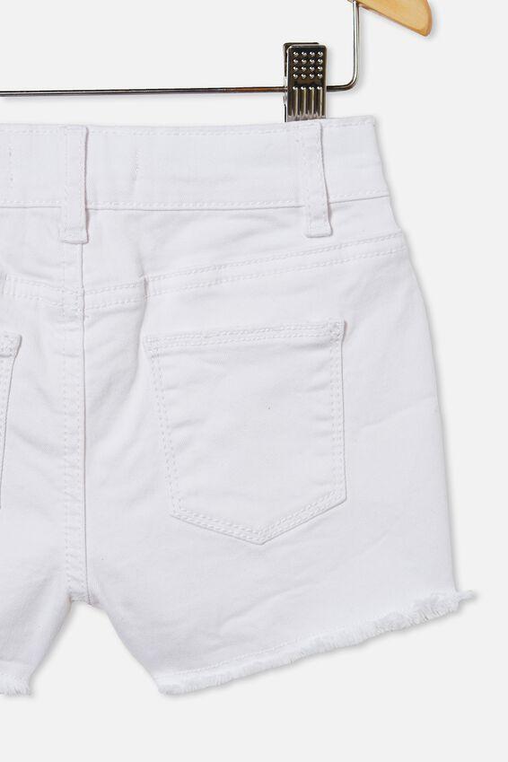 Cleo Raw Edge Denim Short, WHITE 1