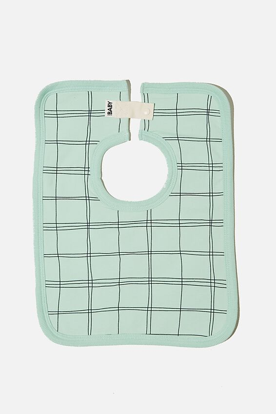 The Darcey Square Bib, DUCK EGG/SKETCHY GRID