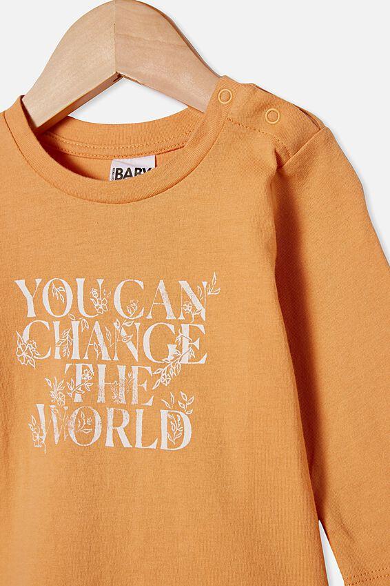 Jamie Long Sleeve Tee, APRICOT SUN/CHANGE THE WORLD