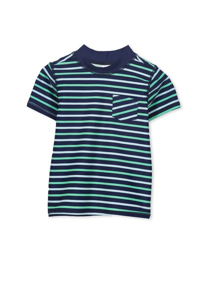 Finley Ss Rash Vest, PEACOAT/BLUE MULTI STRIPE