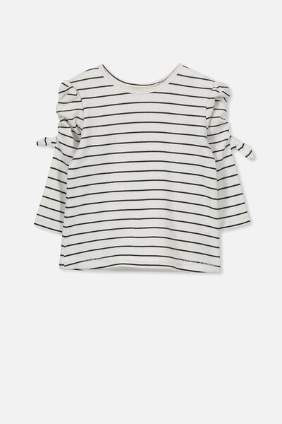 Giselle Long Puff Sleeve Tee, VANILLA/NAVY STRIPE