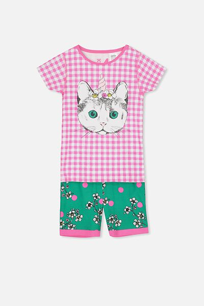 Chloe Girls Short Sleeve PJ Set, CAT-A-CORN