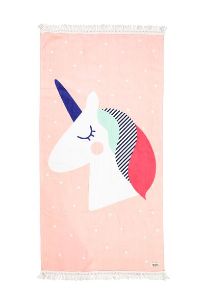 Kids Beach Towel, PINK UNICORN