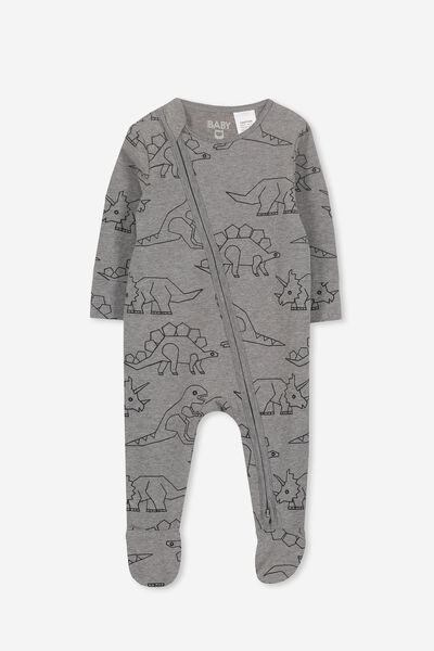 Mini Zip Through Romper, CHARCOAL MARLE/DINOSAUR
