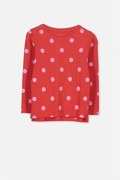 Penelope Long Sleeve Tee, PINK LADY/RED SPOT/SET IN
