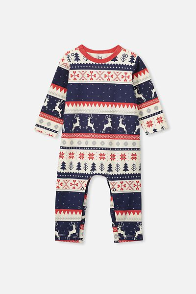 The Long Sleeve Snap Romper, BLACK/RED REINDEER FAIRISLE