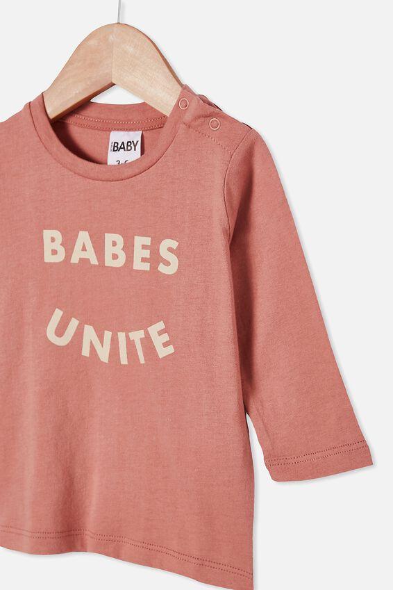 Jamie Long Sleeve Tee, CLAY PIGEON/BABES UNITE