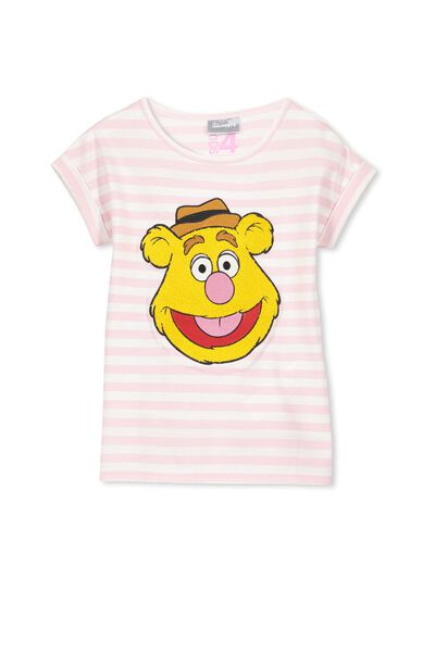 Lux Short Sleeve Retro Tee, FURRY FOZZIE/PINK STRIPE